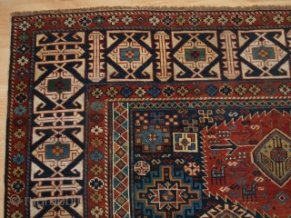 Antique Caucasian Shirvan rug classic medallion design. www.knightsantiques.co.uk Size: 8ft 5in x 4ft 6in (257 x 136cm). 