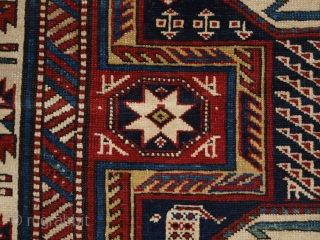 Antique Caucasian Shirvan rug with 'Surahani' garden design. www.knightsantiques.co.uk Size: 7ft 5in x 3ft 1in (227 x 118cm).   Late 19th century.  A good example of a Shirvan rug, with the sought after garden  ...