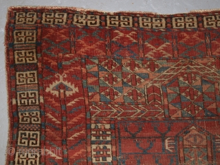 Antique Tekke Turkmen Ensi of very early form. www.knightsantiques.co.uk Size: 4ft 11in x 3ft 5in (150 x 104cm). 