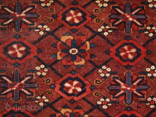 Antique Beshir Turkmen chuval with the Mina Khani design and silk highlights. www.knightsantiques.co.uk Size: 5ft 4in x 3ft 2in (163 x 95cm).