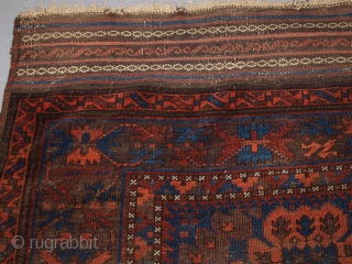 Antique Timuri Baluch main carpet of small size, superb colour and complete kilim ends. www.knightsantiques.co.uk Size: 8ft 10in x 6ft 1in (270 x 185cm). 