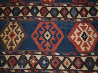 Antique South Caucasian Shirvan kilim of outstanding colour and design. www.knightsantiques.co.uk Size: 9ft 4in x 5ft 9in (285 x 175cm).   Circa 1880.  A very good example of type, with an abrashed indigo blue  ...
