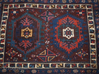 Antique North Persian San Jabi Kurd bag face of double hooked medallion design with a beautifully drawn bird foot border. www.knightsantiques.co.uk Size: 3ft 9in x 3ft 3in (114 x 100cm).   Late 19th  ...
