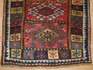 Antique North West Persian Kurdish yastik with excellent colour and traditional design. www.knightsantiques.co.uk Size: 2ft 11in x 2ft 3in (90 x 69cm). 
