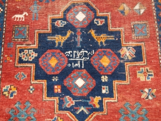 ***Spring sale*** £495.00 click the link www.knightsantiques.co.uk to view more items.  Size: 6ft 11in x 4ft 1in (210 x 124cm).  Antique Caucasian triple medallion Kazak rug dated 1310 / 1892 with an inscription.   Dated  ...