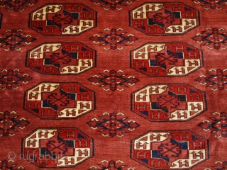 Antique Kizyl Ayak Ersari Turkmen main carpet with the 'tauk nuska' ' gul design; each segment of the gul contains two double headed birds. www.knightsantiques.co.uk Size: 12ft 2in x 7ft 8in (370  ...