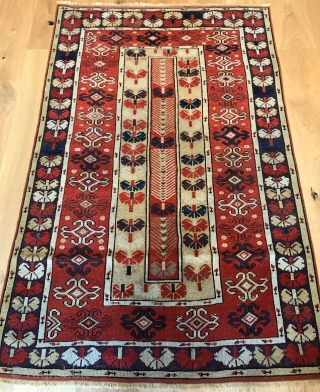 Fine old Milas rug, circa 1850/70. 165 x 103cm. Good condition, even wear with medium pile, hand washed, sides and ends professionally restored in Turkey.