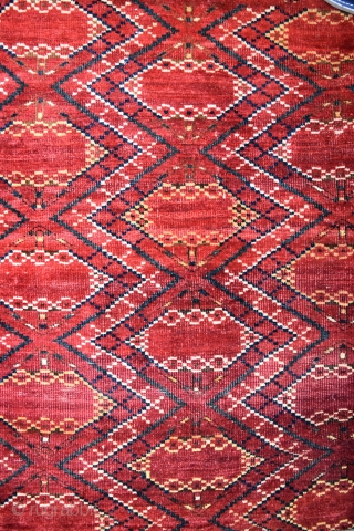 An antique Ersari Beshir chuval face with scarce Ikat design. Good natural dyes and honest original condition with traces of slight wear in places. An attractive piece with good age, suitable for  ...