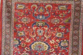 An antique Sultanabad rug of fine quality, possibly from Ziegler and Co. Good condition, slight losses to ends (stopped) Even low pile. Late 19th century.
