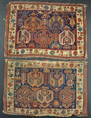 A pair of antique Afshar bags with strong graphics and good dyes. One more worn than the other. Late 19th century. Absolutly filthy, need a bath and a tidy up, but pretty,  ...