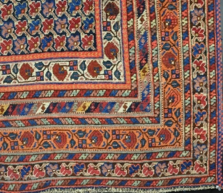 An antique Neriz (Sirjand) Afshar rug, late 19th century. Slight wear in places, very dusty, but pretty. 190 x 145 cm. Price includes shipping.