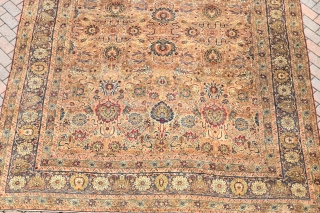A very fine antique Persian Kirman carpet from the coveted workshop of Lavar. Supremely decorative and rare item, with delicate all over design of palmetes and tendrils woven with natural dyes on  ...