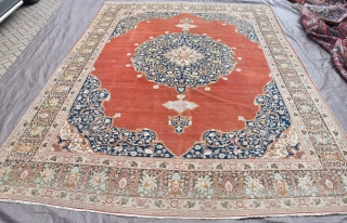 Fine antique Tabriz carpet, all natural dyes, good shiny wool in decent original condition. One small low area. Circa 1900. 397x302cm