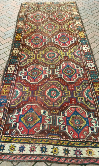 An antique Quchan Kurd, one end missing and replaced with a bit of old Kazak! Late 19th century. Having a clear-out so priced to sell.