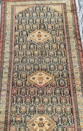 A very fine antique Caucasian Khila Kelleh with typical all over boteh design. Tightly knotted with soft muted, all natural dyes and good wool. A very decorative example of this rare and  ...