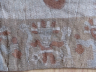 "Pre-Columbian Chancay Painted Textile  --  33"" long  x  28"" wide  --   Circa 1200 to 1500 AD -- decorated in green, red, and brown with a  ..."