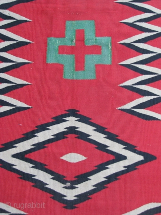 """Navajo - 1870's - Germantown  :   No color run; Rough edges and one rough end; See photos;  2'4"""" x 10' 6"""""""