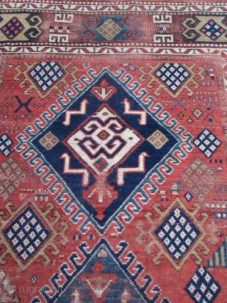 "Antique Kazak Rug dated 1894  --  4'6""  x  8'1""  -- All natural dyes; see photos for condition"