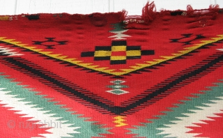 "Navajo Germantown weaving - 1870's - 32"" x 48"" - Colorful, but no color run - Sides & ends need work"