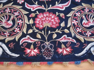 """Outstanding Swedish embroidery, dated 1827. 20"""" x 42"""". Just one small moth bite."""