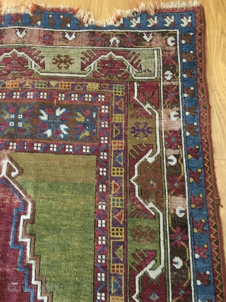 Antique Turkish prayer rug...Kirshehir?   Outstanding purple!