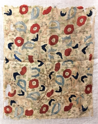 "Early Ottoman silk embroidery fragment, 18"" x 21"", with some original drawing visible on the gauzy fabric, 17th C. Playful, really great abstraction here.  Loosely mounted on linen."