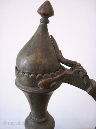 Middle Eastern ewer, copper, c. 1800, w/ hammered floral decoration.