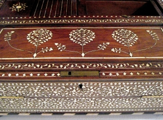 "Anglo-Indian portable writing desk, c. 1825. In exceptional condition, with exquisite workmanship.  18""L x 12""D x 8""H.  Rosewood inlaid with ivory and ebony, brass fittings. Original key included."