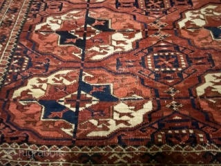 Turkmen Yomut main carpet 310x230 cm age 1900 circa With some defects (some holes and some worn points) Beautiful anyway Can be shipped worldwide (shipping cost to be defined, EU shipping for free).