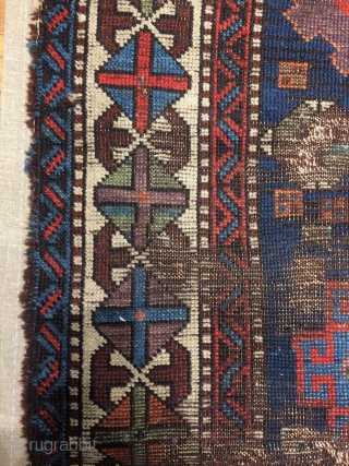 Anatolian Kurdish Rug fragment Circa.1830 mounted very well on linen.size is 140x140cm