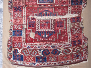 Anatolian Kurdish Rug fragment Circa.1850 mounted on canvas very well.I can send larger images.size is 230x100cm