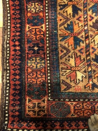 Beluch yastik with original backing  size 83x49 cm  early 20.century  good condition