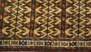 19th cent Turkmen Yamut torba, spectacular natural colours and very fine woven. Very unusual pattern, good condition.