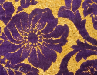 Early 19th cent Russian velvet dress. Excellent natural colours and spectacular flower design (pattern). Rare piece, and perfect condition.
