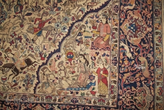 20th cent over (100 years old)  Persian Tabriz, fragment beautiful colours and spectacular design, the size is: 150cm by 180cm.