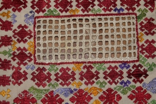 Late 19th cent Tajik Ruiband (Veil) Spectacular natural colours and excellent stitches, it is very rare piece, good condition.