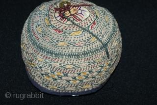 The beautiful 19th cent Uzbek hat, excellent colours, and stitches. Very rare Uzbek hat. More information please mail me.