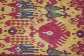 A superb 1850th Uzbek ikat panel. it is collectible piece, it has superb graphic and colours. it is very rare piece, and  it is silk warp/cotton weft. it is one of  ...