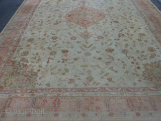 Turkish Oushak, 11-2 x 14-4 (3.40 x 4.37), circa 1910, good condition, original ends and edges, good pile, slight wear, few old repairs, ends old overcasting, needs dusting and wash.