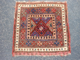Persian Jaf Kurd bag face, late 19th century, 1-10 x 1-10 (.56 x .56), rug was hand washed, good condition, nice purple border, plus shipping.