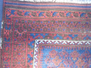 Persian Timuri Baluch, late 19th century, 3-4 x 4-11 (1.02 x 1.50), rug was hand washed, very nice blues, shrubs design, browns are oxidized, floppy handle, original edges (need a little wrapping  ...