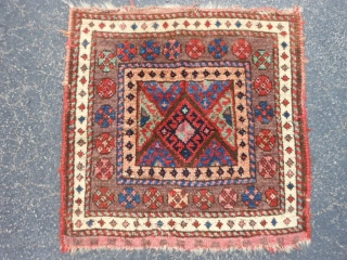 Persian Jaf Kurd bag face, late 19th century, 1-10 x 1-10 (.56 x .56), very good condition, hand washed, good pile, nice purple border, plus shipping.
