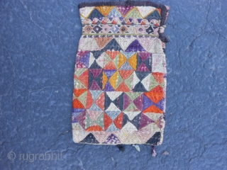 "Uzbek Bag/Purse, early 20th century, 5"" x 8"" (.13 x .20), cotton/silk, some fading and dye run, each side different, plus shipping."