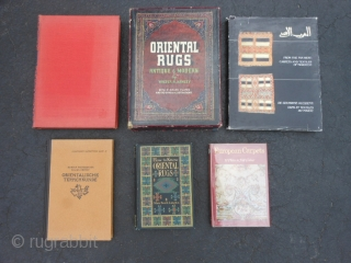 6 Oriental Rug Books, good condition: Oriental Rugs Antique & Modern by Walter A. Hawley, 1937, dust jacket and slip case, English. Oriental & Occidental Rugs by Rosa Belle Holt, 1937, English.  ...