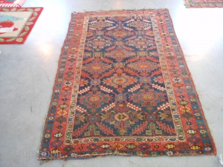 Persian Heriz, circa 1900, 4-7 x 6-10 (1.40 x 2.08), rug was washed, browns oxidized, missing parts of guard borders both ends, sides need wrapping, beautiful colors and design, wear, plus shipping.