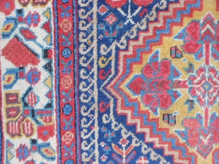 North West Persian weave and design, Kurdish colors and border, 3-1 x 18-1 (.94 x 5.51), late 19th century, 15-20 small animals, beautiful colors, clean, good pile,  floopy handle, 2 small  ...