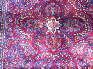 "Persian Sarouk, early 20th century, 3-5 x 4-11 (1.04 x 1.50), very good condition, full pile, original edges, original ends with knotted fringe and overcast, ""painted"", rug was hand washed, plus shipping."