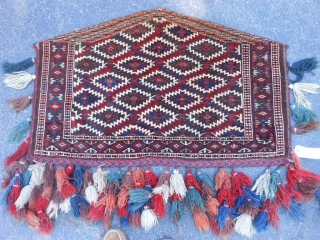 Turkman Teke Asmalyk, early 20th century, 2-4 x 3-7 (.71 x 1.09), very good condition, full pile, fine weave, rug is clean, has tassels, plus shipping.