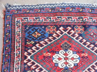 Persian Qashqai Shiraz bag face, circa 1900, 1-9 x 1-11 (.53 x .58), good condition, good pile, clean, embroidery added later?, good colors, plus shipping.