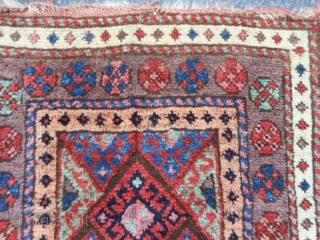 Persian Jaf Kurd bag face, late 19th century, 1-10 x 1-10 (.56 x .56), very good condition, rug was hand washed, full pile, purple border, plus shipping.